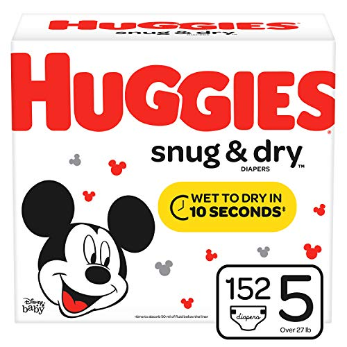 HUGGIES Snug & Dry Baby Diapers, Size 5 (fits 27+ lbs.), 152 Count, Mega Colossal Pack (Packaging May Vary)