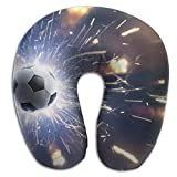 CY STORE Soccer Background With Fire Sparks U Type Pillow Memory Foam Neck Pillow Relex Pollow Travel Pillow Relief Neck Pain