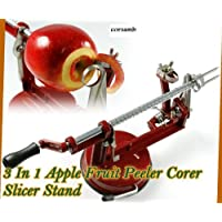 3 in 1 Apple Fruit Peeler, Corer, Slicer Stand (Red) by AMZ