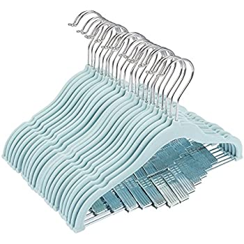 "24 Pack Baby Clothes Velvet Hangers with Clips Blue Ultra Thin No Slip kids 12"" x 8"" by Juvale"