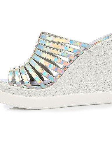 ShangYi Sandales Damens's Schuhes Lederette Wedge Heel Wedges Sandales ShangYi Casual Silver / Gold golden 09853a