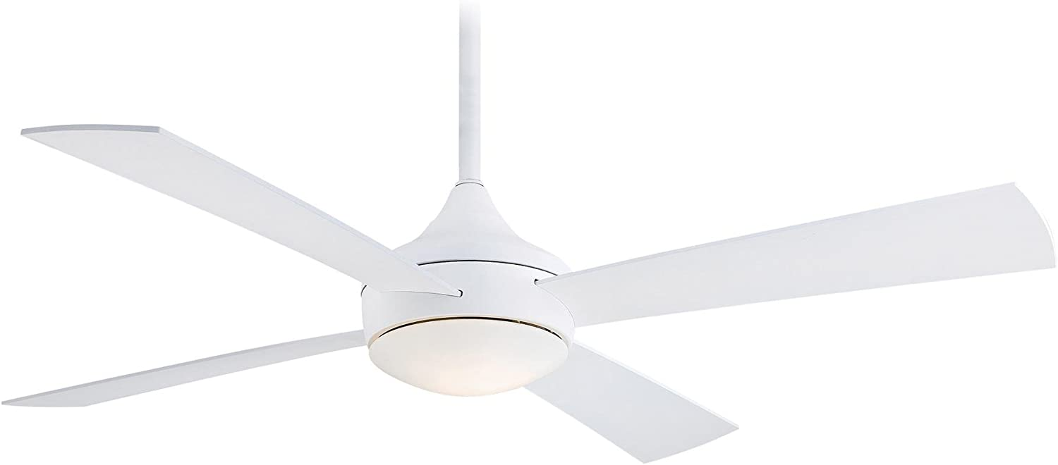 Minka-Aire F523-WHF Protruding Mount, 4 Flat White Blades Ceiling fan with 52 watts light, Flat White