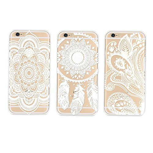 Tenworld 3PC Henna Floral Paisley Flower Clear Hard Case Cover Skin for iPhone 6 4.7