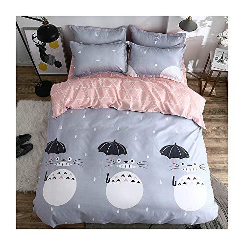KFZ Bed Set Totoro CAT Print 4pcs Bedding Set Duvet Cover Without Comforter Flat Sheet Pillowcase XS Twin Full Queen for Kids Teens Magic Cat A/B Design (Magic Cat, Grey, - Salt Colored Pig