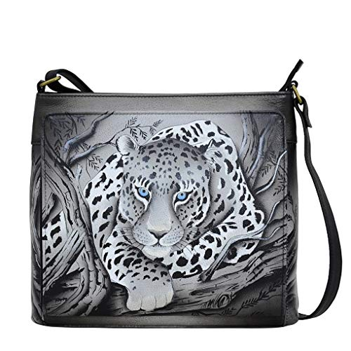 (Anna by Anuschka Genuine Hand Painted Leather | Organizer Crossbody | African Leopard)