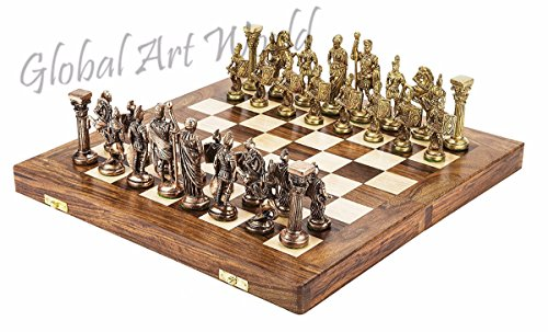 Global Art World Collector's Piece Heavy Brass 'Greek-Roman' Themed Chess King Set - Chess Figurines Including Folding Hand Crafted Wooden Chess Board CB 03