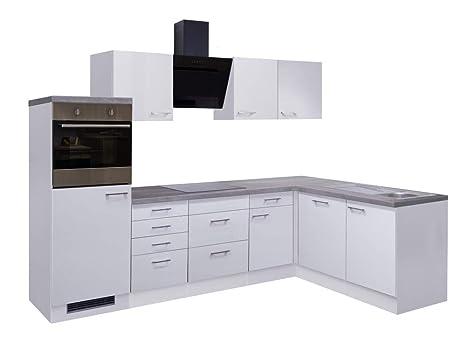 Smart Möbel Küchenzeile Winkelblock 280 x 170 cm Weiß mit ...