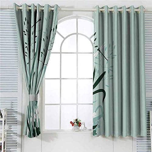 Country Decor Rustic Curtains for Living Room Wild Grass And Dragonflies In Exquisitely Growing Lawn Idyllic Herb Bush Rural Pattern Living Room Decor Blackout Shades W107 x L107 Inch Light Green