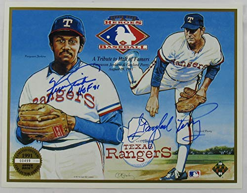 Fergie Jenkins Gaylord Perry Signed Auto Autograph 1991 Upper Deck Heroes Photo