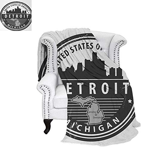 Lightweight Blanket Damaged Old Stamp of Michigan USA with City Map Location Tourism Travel Icon Digital Printing Blanket 60