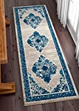 Well Woven Talya Abstract Vintage Distressed Medallion Blue Beige 2x7 (2'3'' x 7'3'' Runner) Area Rug