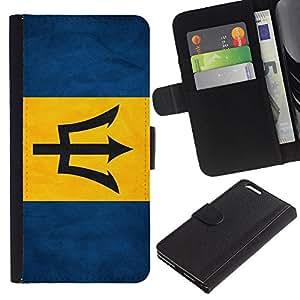 eJoy---La carpeta del tirón la caja de cuero de alta calidad de la PU Caso protector - Apple iPhone 6 PLUS 5.5 - --Barbados Grunge Flag