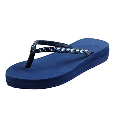 5f33d572ae4f Yiiquanan Ladies Womens Slip On Glitter Sparkly Flip Flops Peep-Toe Thong  Summer Sandals Beach