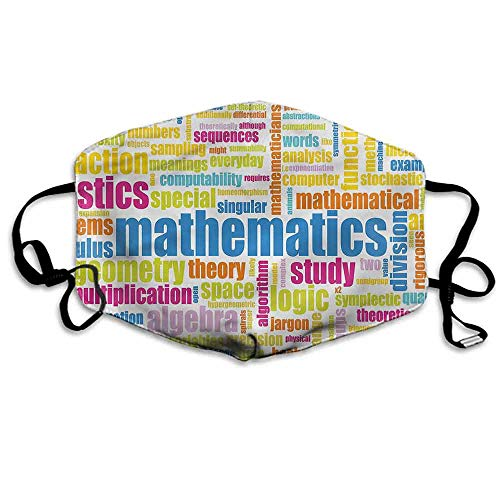 Mathematics Classroom Dust Mouth Mask Math Words for Men and Women W4