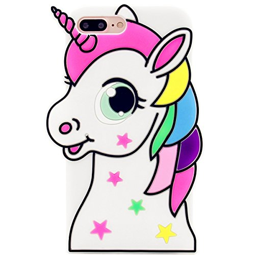 Mulafnxal Stars Unicorn Case for iPhone 6 Plus 6S Plus,Soft Silicone 3D Cartoon Animal Cover,Cool Star Kids Girls Cute Gel Rubber Kawaii Character Shock Proof Protector Cases Skin for iPhone6Plus+5.5