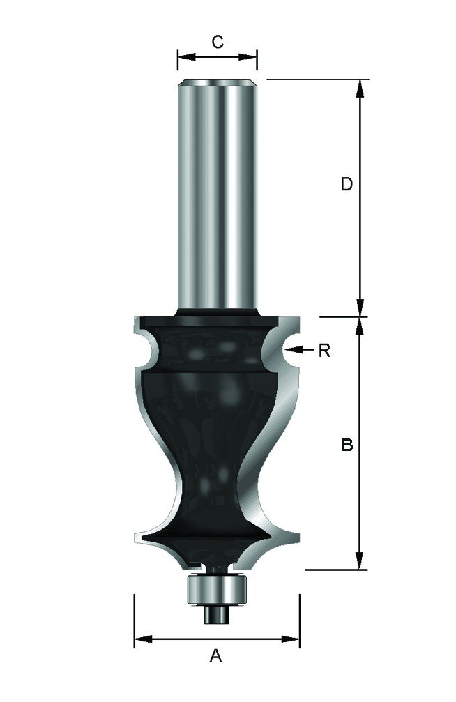 A 8 mm D 32 mm 19 mm B 24,4 mm ENT Fraise d/écoratifs longues Carbure Queue avec roulement R 2 mm C Diam/ètre