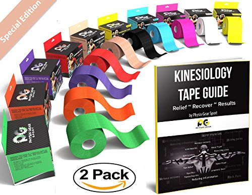 Kinesiology Tape (2 Pack or 1 Pack) Physix Gear Sport, 5cm x 5m Roll Uncut, Best Waterproof Muscle Support Adhesive, Physio Therapeutic Aid, Free 82pg E-Guide - BEIGE 2 PACK