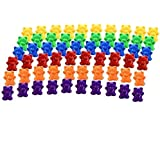 Timoo Colored Counting Bears, 60 PCS Color Sorting Bears (Green & Purple & Blue & Orange & Red & Yellow)