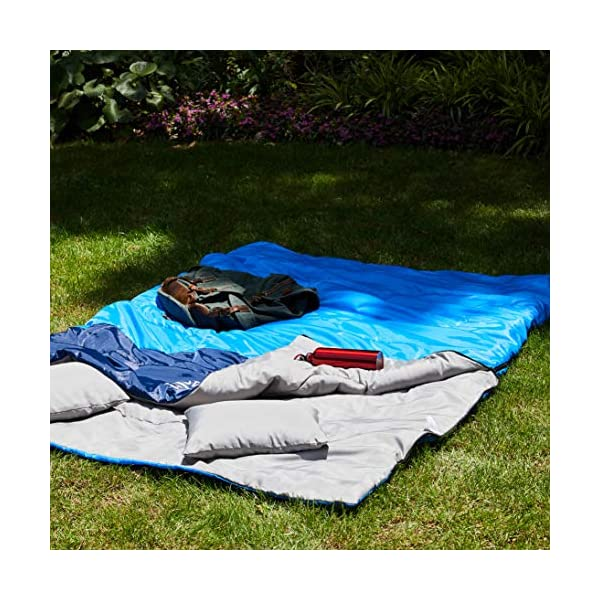 oaskys Camping Sleeping Bag - 3 Season Warm & Cool Weather - Summer, Spring, Fall, Lightweight, Waterproof for Adults & Kids - Camping Gear Equipment, Traveling, and Outdoors (Double Blue) 4