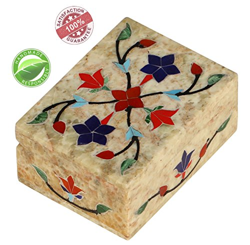 Parents' Day Gifts SALE – Marble Stone Box Handmade Jewelry Box Decorative ''Pietra Dura'' Trinket Storage Keepsake Box – Gift for Her