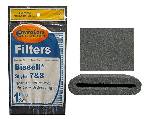 1 Set of Bissell Type or Style 7 / 8 / 14 Foam Vacuum Cleaner Filter 3093, 3290 Kit 1 Upper Tank Filter, 1 Premotor Filter