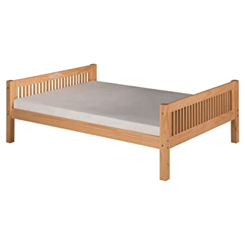 camaflexi mission style solid wood platform bed with trundle full natural