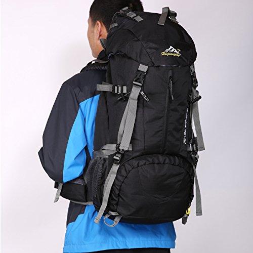 HWJIANFENG 45+5L Mochilas de Senderismo Hombre Portatil Impermeable de Nilon Mochilas de Excursion para Viajes Mochilas Unisex de Ciclismo Negro