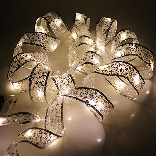 Lxcom 2 Pack LED Ribbon 4M/13Ft 40 LED Fairy Lighted Ribbon Moon Star Ribbon String Light LED Copper Wire Glitter Ribbon Battery Powered for Christmas Garden Holiday Party Wedding Gift,Warm White