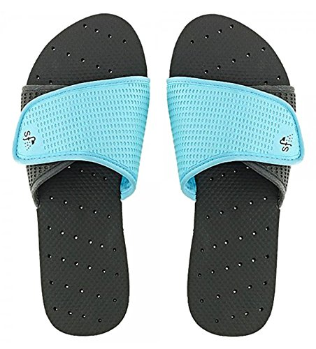 Showaflops Womens' Antimicrobial Shower & Water Sandals for Pool, Beach, Dorm and Gym - Black/Turquoise Slide 11/12