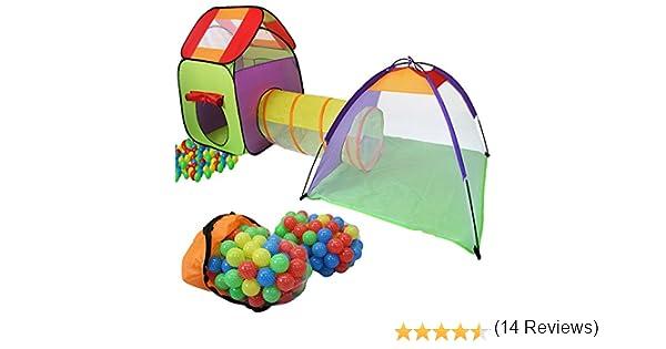 KIDUKU® 3 en 1 Iglú Infantil para Juegos / Tienda de campaña para niños + Túnel de Tela + 200 Bolas + Bolsa para Transportar – Uso Interior y Exterior
