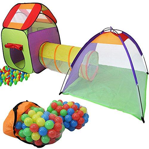 KIDUKU® 3-teiliges Iglu Kinderspielzelt Spielzelt + Krabbeltunnel + 200 Bälle + Tasche für drinnen und draußen