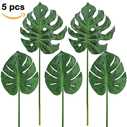 Supla 5 Pcs Aritificial Tropical Palm Leaf Split Philodendron Fake Palm Leaves Artificial Swiss cheese plant Artificial Windowleaf Tropical Vine Leathery Leaf Tropical Palm Leaf