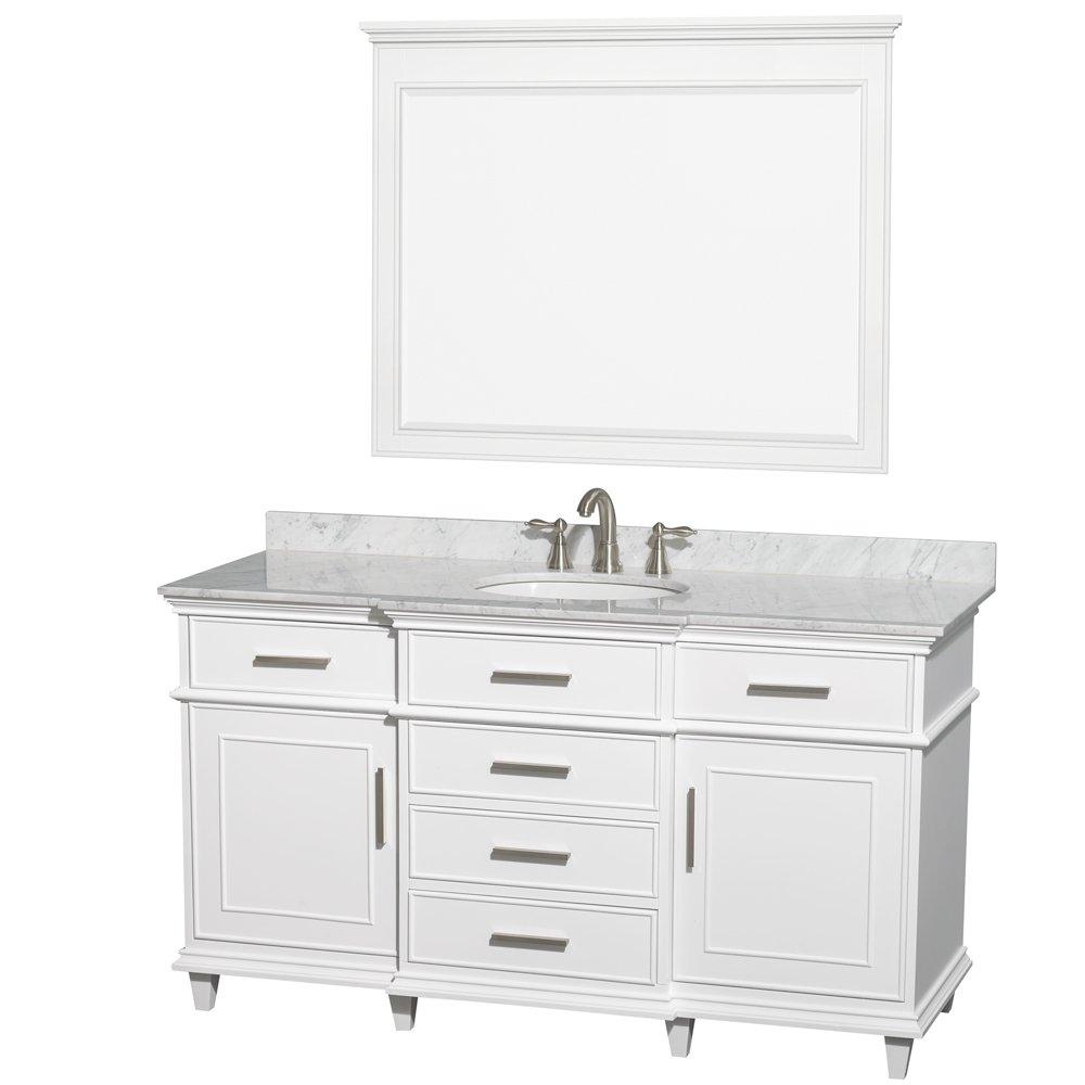 Wyndham Collection Berkeley 60 inch Single Bathroom Vanity in White ...