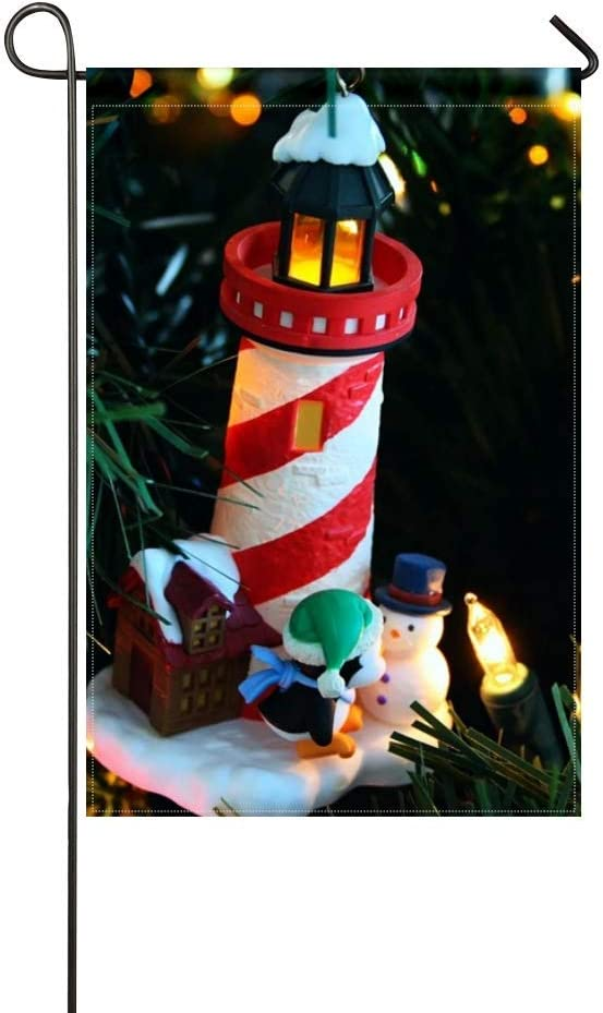 DongGan Garden Flag Christmas Tree Garlands House Lighthouse Penguin Snowman Figurines Holiday 12x18 Inches(Without Flagpole)
