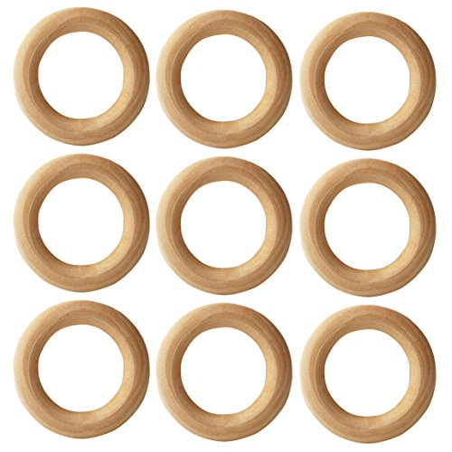 Additional Pendant - AxeSickle 25pcs Natural Wood Rings Circle 2-1/8