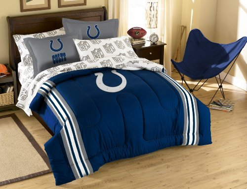 The Northwest Company Officially Licensed NFL Indianapolis Colts Full Bed in a Bag with Applique - Colts Cotton Sheet Set Indianapolis