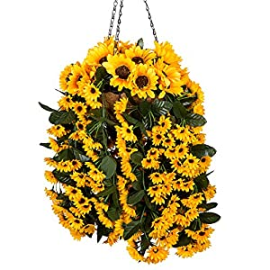 Mixiflor Hanging Flowers Basket, Artificial Hanging Sunflowers for Home Balcony Living Room Wedding Decoration Sunflower Artificial Hanging Basket with Chain Flowerpot 31