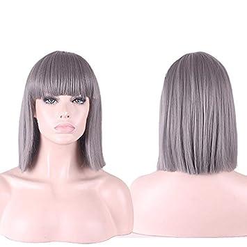 Yarui 15 36cm Women Straight Shoulder Length Blunt Bangs Bob Hair Synthetic Cosplay Wigs For Black Wome Gray