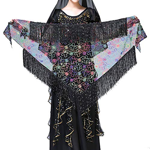 MacRoog Belly Dance Hip Scarf Fringed Triangle Waist Scarf Tassel Skirt Stage Performance Costumes Accessory