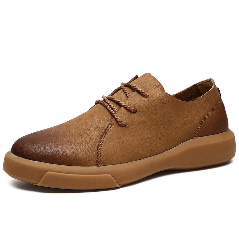GBY Herrenmode Oxford Lässige Außensohle Retro Abwischen Farbe Runde Spitze Schnüren Formelle Schuhe Kleid Schuhe