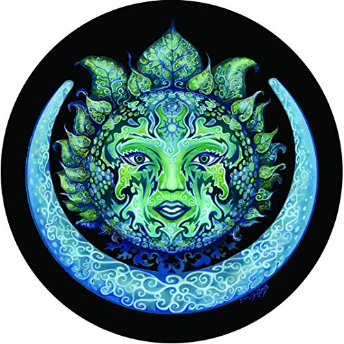 - TIRE COVER CENTRAL Green Woman Green & Blue Sun and Moon Spare Tire Cover for 205/75R14 fits Camper, Jeep, RV, Scamp, Trailer(Drop Down Size menu