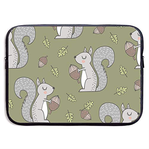 (YuanQuann Forest Squirrel Squirrels with Leaves 13-15 Inch Laptop Sleeve Bag Portable Dual Zipper Case Cover Pouch Holder Pocket Tablet Bag, Water Resistant,)