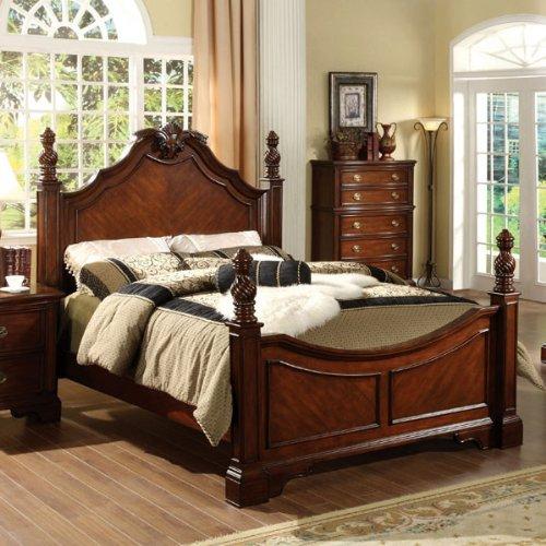 Carlsbad English Style Dark Cherry Finish Eastern King Size Bed Frame Set