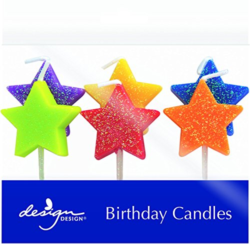 (Design Design Colorful Stars Birthday Candles, Multicolor)