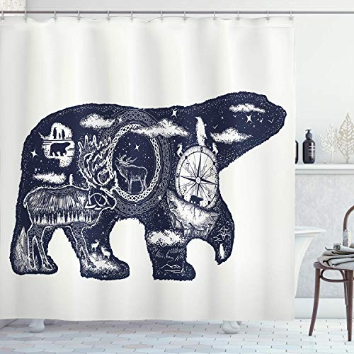GoEoo Cabin Decorative Shower Curtain Cosmic Fantasy Polar Bear Tattoo Art Magic Boho North Natural Compass Decoration Room Decoration Home Easy to Clean Waterproof Shower Curtain Dark Blue White (Life Love And A Polar Bear Tattoo)