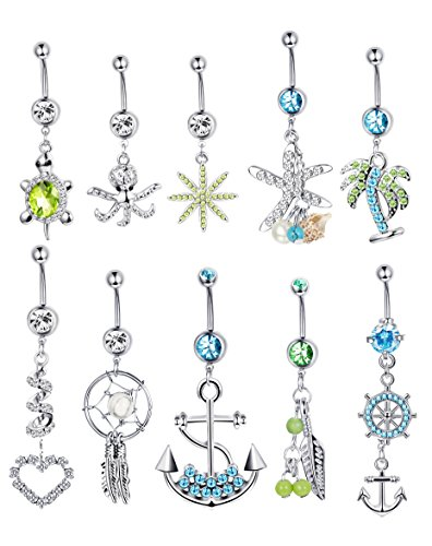 Design Belly Button - LOYALLOOK 5PCS Stainless Steel Belly Button Rings Tribal Dangle Set for Women Girls Body Piercing Jewelry (B:10PCS)