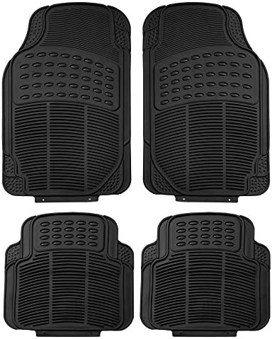FH Group F11305 Trimmable Rubber Floor Mats (Black) Full Set – Universal Fit for Cars Trucks and SUVs