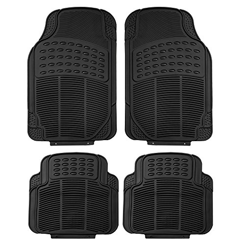 FH Group F11305BLACK Black All Weather Floor Mat, 4 Piece (Full Set Trimmable Heavy (Door 4 Piece Floor Mat)