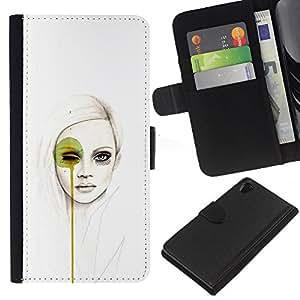 Protector de cuero de la PU de la cubierta del estilo de la carpeta del tirón BY RAYDREAMMM - Sony Xperia Z2 D6502 - Arte pop Mujer