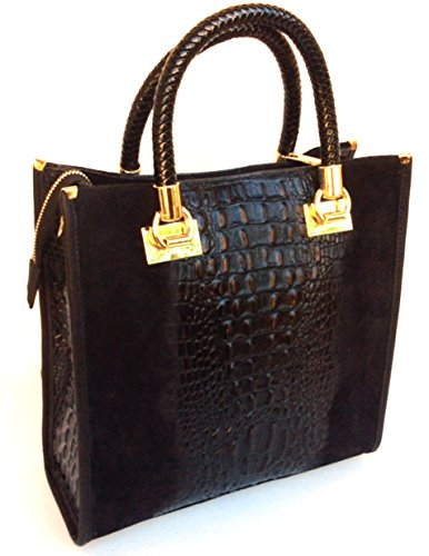 Bauletto Made Croco Isa Italy In Coccodrillo Pelle SUPERFLYBAGS stampa Vera Modello Nero In Camoscio Borsa BCH1xq5aw